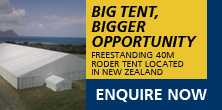 Freestanding 40M Roder tent located in New Zealand