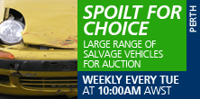 Large range of salvage vehicles for auction