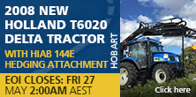 2008 New Holland T6020 Delta Tractor With Hiab 144E Hedging Attachment