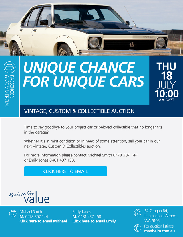 Unique chance for unique cars, vintage, custom and collectible ...