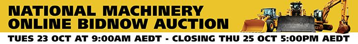 National Machinery Online BIDNOW Auction - Tuesday 23 Oct at 9:00AM AEDT - Closing Thursday, 25 Oct 5.00pm AEDT